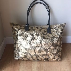 Animal Print Tote Bag with Zip Enclosure Gold